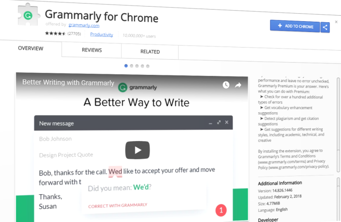 Grammarly's chrome extension bug puts user's private data at risk
